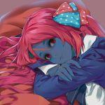 1girl blue_skin blush bow closed_mouth forehead_scar gimnang hair_bow hair_ornament head_on_arm highres long_hair long_sleeves looking_at_viewer minamoto_sakura polka_dot polka_dot_bow red_eyes redhead smile solo zombie_land_saga