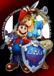 2boys antique_(artist) big_nose blonde_hair blue_eyes boots brown_footwear brown_hair cappy_(mario) copyright_name f.l.u.d.d. facial_hair fingerless_gloves gloves hat kneeling link logo looking_at_another mario mario_(series) master_sword multiple_boys mustache nintendo over_shoulder overalls pointy_ears shield smile standing super_mario_bros. super_mario_odyssey super_smash_bros. super_smash_bros._ultimate sword the_legend_of_zelda the_legend_of_zelda:_breath_of_the_wild weapon weapon_over_shoulder white_gloves