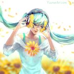 1girl absurdres aqua_hair blurry blurry_background closed_eyes commentary depth_of_field english_commentary facing_viewer flower hatsune_miku headphones highres long_hair petals solo sunflower twintails very_long_hair vocaloid watermark web_address wenqing_yan wind
