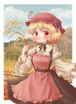 1girl aki_minoriko apron arinu black_ribbon blonde_hair blush clouds commentary_request fence food_themed_hair_ornament grape_hair_ornament hair_ornament hat highres long_sleeves looking_at_viewer mob_cap neck_ribbon outdoors red_eyes ribbon short_hair sky smile solo touhou tree wheat wooden_fence