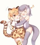 2girls :d ;o animal_ears bangs bare_shoulders beige_background black_neckwear blush bow bowtie closed_eyes eyebrows_visible_through_hair fingerless_gloves frilled_swimsuit frills fur_collar gloves grey_hair hug jaguar_(kemono_friends) jaguar_ears jaguar_print jaguar_tail kemono_friends matsuu_(akiomoi) multiple_girls musical_note one-piece_swimsuit one_eye_closed open_mouth otter_ears otter_tail shirt short_hair short_sleeves simple_background skirt small-clawed_otter_(kemono_friends) smile swimsuit tail thigh-highs toeless_legwear white_hair white_shirt zettai_ryouiki
