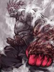 1boy belt clenched_hand clenched_teeth fog gouki grey_background muscle ponytail rope rope_belt sharp_teeth shu-mai simple_background solo spiky_hair street_fighter street_fighter_iv_(series) teeth white_eyes