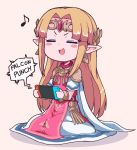 1girl blonde_hair blush chibi closed_eyes controller dress earrings f-zero game_console game_controller hair_ornament handheld_game_console jewelry joy-con long_hair nazonazo_(nazonazot) nintendo nintendo_switch open_mouth playing_games pointy_ears princess_zelda simple_background sitting smile solo super_smash_bros. super_smash_bros._ultimate the_legend_of_zelda the_legend_of_zelda:_a_link_between_worlds tiara triforce