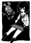 1boy 1girl backpack bag bug collared_shirt commentary cosplay dowman_sayman greyscale highres looking_at_viewer monochrome necktie no_nose peni_parker school_uniform shirt short_hair short_sleeves silk skirt smile spider spider-ham spider-man spider-man:_into_the_spider-verse spider-man_(cosplay) spider-man_(series) spider_web v