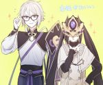 1boy 1girl accessories_switch akuta_hinako artist_request black_hair blue_eyes buttons capelet chinese_clothes command_spell eyebrows_visible_through_hair eyewear_switch fate/grand_order fate_(series) gao_changgong_(fate) glasses hair_between_eyes horned_mask long_hair looking_at_viewer mask masked ribbed_sweater smile sweater translation_request turtleneck turtleneck_sweater twintails very_long_hair white_capelet white_hair yellow_background yellow_eyes