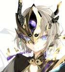 1boy blue_eyes fate/grand_order fate_(series) gao_changgong_(fate) hair_between_eyes horned_headwear looking_at_viewer male_focus mask naruwe short_hair silver_hair simple_background smile solo white_background