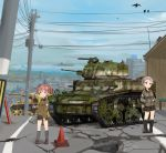 2girls alisa_(girls_und_panzer) artist_name bangs baton bird black_footwear black_shorts blue_sky boots brown_eyes brown_hair brown_jacket building cityscape closed_mouth clouds cloudy_sky crack day emblem eyebrows_visible_through_hair freckles frown girls_und_panzer ground_vehicle hair_ornament hands_in_pockets holding jacket kneehighs loafers long_sleeves looking_at_viewer military military_uniform military_vehicle motor_vehicle multiple_girls naomi_(girls_und_panzer) open_mouth outdoors road roundel saunders_military_uniform shasu_(lastochka) shoes short_hair short_twintails shorts signature sky standing star star_hair_ornament tank traffic_cone twintails uniform utility_pole vehicle_request very_short_hair