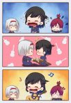 !? 3girls 3koma acoustic_guitar anchor_symbol annoyed azur_lane baby bangs beamed_eighth_notes black_hair colorado_(azur_lane) comic commentary_request covering_ears crying eyebrows_visible_through_hair guitar hair_ornament hair_scrunchie hairband highres instrument long_hair maryland_(azur_lane) mole multiple_girls musical_note open_mouth ponytail quarter_note red_hairband redhead scrunchie silent_comic smile star streaming_tears tears tweetdian west_virginia_(azur_lane) white_hair younger
