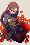 braid brown_hair centaur chibi cis05 consort_yu_(fate) fate/grand_order fate_(series) flower glasses hug long_hair red_eyes seiza sitting xiang_yu_(fate/grand_order)