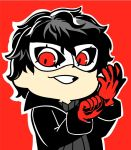 1boy amamiya_ren bkub black_coat black_hair clenched_hand commentary domino_mask gloves grey_shirt grin male_focus mask nintendo outline persona persona_5 red_background red_eyes red_gloves shirt short_hair simple_background smile solo super_smash_bros. super_smash_bros._ultimate sweater turtleneck turtleneck_sweater white_outline