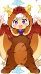+_+ 1girl :3 :d arms_up bangs blush brown_cape butter caramell0501 character_request cookie_run eyebrows_visible_through_hair food food_themed_clothes highres hood hood_up long_sleeves looking_at_viewer open_mouth outstretched_arms short_hair smile solid_oval_eyes solo spread_arms star starry_background v-shaped_eyebrows violet_eyes white_background white_hair