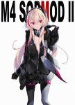 1girl bangs black_jacket black_legwear breasts character_name closed_mouth coat commentary eyebrows_visible_through_hair girls_frontline hair_between_eyes headgear jacket long_hair m4_sopmod_ii_(girls_frontline) mechanical_arm mimelond multicolored_hair open_clothes open_coat partially_unbuttoned pink_hair red_eyes small_breasts smile solo streaked_hair thigh-highs