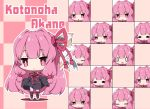 0_0 1girl :< :d ^_^ anger_vein bangs bare_shoulders black_dress black_footwear blush boots character_name checkered checkered_background chibi closed_eyes closed_eyes closed_mouth commentary_request dress expressions eyebrows_visible_through_hair hair_ribbon kotonoha_akane long_hair long_sleeves milkpanda multiple_views open_mouth parted_lips pink_hair pink_legwear red_eyes red_ribbon ribbon shaded_face short_eyebrows sleeves_past_fingers sleeves_past_wrists smile sweatdrop thigh-highs thighhighs_under_boots triangle_mouth very_long_hair voiceroid