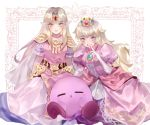 2girls aubz blonde_hair blue_eyes blush cape closed_eyes crown dress earrings gloves gown hair_ornament hat jewelry kirby kirby_(series) long_hair looking_at_viewer mario_(series) multiple_girls nintendo open_mouth pink_dress pointy_ears princess_peach princess_zelda smile super_mario_bros. super_smash_bros. super_smash_bros._ultimate the_legend_of_zelda the_legend_of_zelda:_a_link_between_worlds tiara