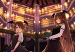 2girls :o bangs black_skirt black_vest blurry blurry_background book breasts commentary_request cowboy_shot demon_wings dual_persona futatsuki_eru head_wings holding holding_book indoors koakuma long_hair long_sleeves looking_at_viewer medium_breasts multiple_girls necktie open_mouth parted_lips railing red_eyes red_neckwear redhead shirt short_hair short_sleeves skirt skirt_set touhou very_long_hair vest white_shirt wings