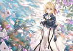 1girl ascot black_gloves blonde_hair blue_eyes dress from_above gloves hair_between_eyes hair_ribbon letter long_dress long_sleeves looking_up outdoors parted_lips red_ribbon ribbon sevens_(treefeather) solo standing violet_evergarden violet_evergarden_(character) white_dress white_neckwear