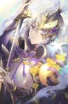 1boy cape chinese_armor chinese_clothes fate/grand_order fate_(series) flower gao_changgong_(fate) hair_between_eyes holding holding_sheath holding_sword holding_weapon horned_mask looking_at_viewer male_focus mask mask_over_one_eye masked parted_lips sheath short_hair silver_hair solo sword unsheathed violet_eyes weapon yellow_flower yunohito