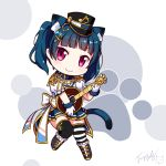 >:) 1girl animal_ear_fluff animal_ears bangs banjo belt_collar black_hat black_legwear blue_collar blue_hair blue_skirt blush boots bow brown_footwear cat_ears cat_girl cat_tail center_frills closed_mouth eighth_note eyebrows_visible_through_hair frilled_boots frills fur-trimmed_gloves fur_trim gloves hat head_tilt highres holding holding_instrument instrument jacket kemonomimi_mode knee_boots langbazi looking_at_viewer love_live! love_live!_sunshine!! mismatched_legwear musical_note musical_note_hair_ornament peaked_cap pleated_skirt puffy_short_sleeves puffy_sleeves shirt short_sleeves signature skirt smile solo striped striped_legwear tail thigh-highs tsushima_yoshiko twintails white_bow white_gloves white_jacket white_shirt