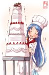 1girl artist_logo blue_hair cake chef chef_hat closed_eyes commentary_request cosplay dated feet_out_of_frame food forehead gradient_hair hat highres kanon_(kurogane_knights) kantai_collection long_hair multicolored_hair no_nose open_mouth red_scarf samidare_(kantai_collection) scarf simple_background smile solo toque_blanche trembling very_long_hair white_background