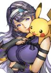 arm_under_breasts armband asano_ruri asano_sisters_project bangs black_bow bow closed_mouth commentary_request creatures_(company) game_freak gen_1_pokemon hairband looking_at_another nintendo on_shoulder open_mouth pikachu pokemon purple_hair purple_shirt shimashima_(simasima_23) shirt sleeveless sleeveless_shirt smile violet_eyes virtual_youtuber