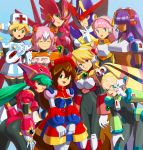 6+girls alia_(rockman) android bangs beret berkana blonde_hair blue_background blue_eyes blunt_bangs blush breasts brown_hair capcom cinnamon commentary_request dark_skin everyone female ferham framed_breasts gloves green_eyes green_hair hair_between_eyes hair_ornament hair_over_eyes hand_on_own_knee hat head_tilt headgear headset helmet iris_(rockman_x) large_breasts layer leaning_forward long_hair looking_at_viewer low-tied_long_hair marino medium_breasts multicolored_hair multiple_girls nana_(rockman) nurse nurse_cap one_eye_closed open_mouth palette_(rockman) pink_hair ponytail purple_hair robot_ears rockman rockman_x rockman_x2:_soul_eraser rockman_x4 rockman_x8 rockman_x_command_mission short_hair smile two-tone_hair under_boob user_fuyz3388 very_long_hair white_gloves white_hair witch_hat