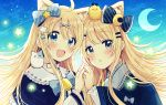 2girls :d absurdres ahoge animal animal_ear_fluff animal_ears bangs bell bird blonde_hair blue_bow blue_capelet blue_eyes blue_sky blush bow capelet cat cat_ears chick clouds commentary_request crescent crescent_moon day diagonal_stripes eyebrows_visible_through_hair fingernails frilled_capelet frilled_sleeves frills hair_between_eyes hair_bow hand_up head_tilt highres interlocked_fingers long_hair long_sleeves moon multiple_girls on_head on_shoulder open_mouth original outdoors parted_lips sakura_oriko siblings sisters sky smile star striped striped_bow very_long_hair