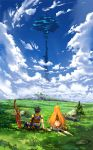 1boy 1girl absurdres arm_at_side arm_support armlet ass blue_sky brown_gloves brown_hair bush clouds commentary_request day error field from_behind gloves grass highres hikari_(xenoblade_2) nintendo planted_sword planted_weapon poteto_(potetosarada123) rex_(xenoblade_2) rock scenery short_hair sitting sky sword touching tree weapon xenoblade_(series) xenoblade_2