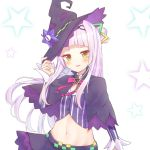 1girl capelet commentary_request crop_top groin hair_bun hair_ornament hat highres holding holding_hat hololive lavender_hair long_hair looking_at_viewer midriff murasaki_shion navel solo star virtual_youtuber white_background witch_hat yellow_eyes