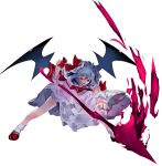 bat_wings bow brooch cravat dress fang frilled_shirt frilled_shirt_collar frilled_sleeves frills hat hat_ribbon highres ikurauni jewelry lavender_hair looking_at_viewer mob_cap pink_dress puffy_short_sleeves puffy_sleeves red_bow red_eyes red_ribbon remilia_scarlet ribbon ribbon_trim sash shirt short_hair short_sleeves spear_the_gungnir the_embodiment_of_scarlet_devil touhou wings wrist_cuffs