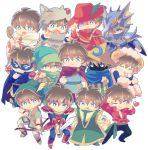 6+boys :d :o ;) animal_costume animal_hat armor arrow bangs beastmaster_(final_fantasy) bell berserker_(final_fantasy) black_mage black_pants blue_eyes blue_footwear blue_mage boots bow_(weapon) bright_pupils brown_footwear brown_hair butz_klauser cape closed_eyes closed_mouth dancer domino_mask dragoon_(final_fantasy) face_mask fang final_fantasy final_fantasy_v fur-trimmed_sleeves fur_trim geomancer_(final_fantasy) glint gloves green_hat hair_between_eyes hat hat_feather hat_ornament heart helmet holding holding_bow_(weapon) holding_staff holding_sword holding_weapon horn horns knight_(final_fantasy) long_sleeves mask multiple_boys multiple_persona nightcap no_nose one_eye_closed open_mouth pants pauldrons pose ranger_(final_fantasy) red_cape red_footwear red_hat red_mage red_shirt robe sheep_costume sheep_horns shirt short_hair simple_background skull smile sparkle spikes staff standing summoner_(final_fantasy) sword takatora tied_shirt weapon white_background white_mage white_pupils wide_sleeves wizard_hat wolf_costume wolf_hat yellow_gloves yellow_hat