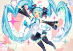 1girl :d absurdres armpits bare_shoulders beamed_eighth_notes black_ribbon blue_eyes blue_hair blue_nails blue_neckwear blue_ribbon blurry breasts bubble depth_of_field detached_sleeves eighth_note eyebrows_visible_through_hair fingernails gradient gradient_background hair_ribbon happy hatsune_miku heart heart_background highres jumping komadori_ui long_hair looking_at_viewer musical_note nail_polish necktie open_mouth outstretched_arms pink_background ribbon shaded_face shirt simple_background skirt sleeveless sleeveless_shirt smile solo sparkle_background thigh-highs thighs twintails upper_teeth very_long_hair vocaloid water_drop white_background white_shirt