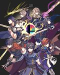 1girl 6boys absurdres armor blue_cape blue_eyes blue_hair cape danno_gs falchion_(fire_emblem) father_and_daughter fire_emblem fire_emblem:_akatsuki_no_megami fire_emblem:_kakusei fire_emblem:_monshou_no_nazo fire_emblem:_souen_no_kiseki fire_emblem_heroes fire_emblem_if gloves headband highres ike intelligent_systems krom long_hair looking_at_viewer lucina male_focus male_my_unit_(fire_emblem:_kakusei) male_my_unit_(fire_emblem_if) mamkute marth multiple_boys my_unit_(fire_emblem:_kakusei) my_unit_(fire_emblem_if) nintendo open_mouth pointy_ears short_hair smash_ball smile sora_(company) super_smash_bros. super_smash_bros._ultimate super_smash_bros_brawl super_smash_bros_for_wii_u_and_3ds super_smash_bros_melee sword tiara weapon white_hair