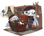 2girls :< =_= animal arm_up armchair asymmetrical_footwear beret black_hat black_legwear black_skirt blush blush_stickers book bookshelf boots boots_removed building cat chair checkered checkered_floor closed_eyes clouds commentary_request curtains drooling flat_cap g11_(girls_frontline) girls_frontline green_eyes green_hat green_jacket hair_ornament hand_on_hip hat hk416_(girls_frontline) indoors itsuki_tasuku jacket long_hair long_sleeves lying miniskirt multiple_girls night night_sky on_back parted_lips pleated_skirt purple_jacket red_footwear saliva silver_hair single_boot skirt sky skyscraper thigh-highs triangle_mouth v-shaped_eyebrows very_long_hair window zzz