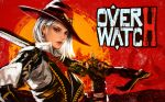 1girl ashe_(overwatch) breasts copyright_name cowboy_hat earrings fingerless_gloves gloves gun hat highres holding holding_gun holding_weapon jewelry kaburagi_yasutaka looking_at_viewer medium_hair mole overwatch red_dead_redemption red_eyes solo vest weapon white_hair