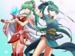 >:) 2girls :d aqua_background aqua_dress aqua_eyes aqua_hair arm_up bare_legs black_choker black_gloves boots bow bracer breasts bug butterfly cape chiki choker circlet cleavage closed_mouth dress eyebrows_visible_through_hair eyes_visible_through_hair feet_out_of_frame female fire_emblem fire_emblem:_kakusei fire_emblem:_monshou_no_nazo fire_emblem:_rekka_no_ken fire_emblem_heroes floating_hair garter_straps gem gloves gradient gradient_background green_hair hair_between_eyes hair_ornament hands_up happy headpiece high_ponytail highres holding holding_gem holding_sword holding_weapon insect jewelry kakiko210 kakiko228 katana large_breasts legs light_particles long_dress long_hair looking_at_viewer lyndis_(fire_emblem) mamkute medium_breasts multiple_girls neck nintendo older open_mouth pelvic_curtain pink_bow pink_cape pink_dress pink_legwear pointy_ears ponytail red_dress red_footwear red_gloves short_dress short_sleeves side-by-side side_slit sidelocks sleeveless sleeveless_dress smile standing stone super_smash_bros. super_smash_bros._ultimate sword thigh-highs tiara very_long_hair weapon white_cape wind wind_lift