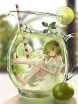 1girl artist_name barefoot blurry blurry_background chestnut_mouth clenched_hand cup dress drinking_straw flower food fruit full_body green_hair hair_flower hair_ornament highres ice ice_cube in_container in_cup lime_(fruit) lime_slice original pitcher red_eyes risem short_hair sitting underwater white_dress