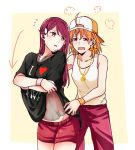 2girls =3 ahoge backwards_hat bangs baseball_cap black_shirt blush bow braid clothes_writing collarbone cowboy_shot directional_arrow dressing flying_sweatdrops hair_bow hair_ornament hairclip hat highres i_heart... jewelry kougi_hiroshi long_hair looking_back love_live! love_live!_sunshine!! multiple_girls navel open_mouth orange_bow orange_hair pants pendant red_eyes red_pants red_shorts redhead sakurauchi_riko see-through shirt short_hair shorts side_braid t-shirt takami_chika tank_top v-shaped_eyebrows white_tank_top wristband yellow_background yellow_eyes