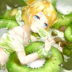 1girl animal_hair_ornament bare_shoulders bikini bikini_under_clothes blonde_hair blue_eyes blurry bow bracelet braid collarbone depth_of_field dew_drop dripping eating flat_chest food food_print french_braid frilled_bikini frills fruit giant_food hair_bow hair_ornament hairclip highres ice_cream jewelry kagamine_rin kiwi_slice kiwifruit leaf looking_at_viewer lying midriff on_side open_clothes open_shorts oyamada_(pi0v0jg) oyamada_gamata parted_lips popsicle scrunchie see-through shirt short_hair short_ponytail shorts side_braid solo swimsuit swimwear tareme vocaloid water_drop wet wet_clothes wet_shirt wrist_scrunchie