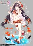 1girl black_hair bow brave_sword_x_blaze_soul copyright_name fish flower food full_body goldfish grey_background hair_bow hair_flower hair_ornament hairband hand_up long_hair navel official_art popsicle puddle red_bow red_flower red_swimsuit rin_(ringer) sandals solo standing swimsuit thigh_strap tongue tongue_out very_long_hair watermark