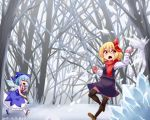 2girls araki_(qbthgry) arm_up artist_name bare_tree black_footwear black_legwear black_skirt black_vest blonde_hair blue_bow blue_dress bow brown_footwear cirno clenched_hand commentary_request dated day dress fang folded_leg forest gloves hair_between_eyes hair_bow hair_ribbon ice long_sleeves looking_back mary_janes multiple_girls nature open_mouth outdoors pantyhose pinafore_dress pink_gloves puffy_short_sleeves puffy_sleeves red_eyes red_neckwear red_scarf ribbon rumia scarf shirt shoes short_hair short_sleeves skirt snow snowball snowball_fight thigh-highs throwing touhou tree vest walking white_legwear white_shirt winter