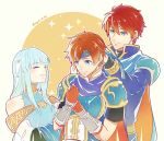 1girl 2girls armor bare_shoulders blue_armor blue_eyes blue_hair blush cape closed_eyes dress eliwood_(fire_emblem) father_and_son fire_emblem fire_emblem:_fuuin_no_tsurugi fire_emblem:_rekka_no_ken fire_emblem_heroes gloves hair_ornament headband jewelry kazame long_hair mamkute mother_and_son multiple_girls ninian nintendo open_mouth red_eyes redhead roy_(fire_emblem) short_hair simple_background smile super_smash_bros. super_smash_bros._ultimate taiga_kazame veil