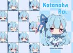 >:) 0_0 1girl :< :d bangs blue_dress blue_footwear blue_hair blue_ribbon blue_sleeves blush character_name checkered checkered_background chibi closed_eyes closed_mouth commentary_request detached_sleeves dress expressions eyebrows_visible_through_hair hair_ribbon highres kneebar kotonoha_aoi long_hair long_sleeves milkpanda open_mouth parted_lips pink_legwear ribbon shaded_face sleeveless sleeveless_dress sleeves_past_fingers sleeves_past_wrists smile sweatdrop tears thigh-highs thighhighs_under_boots triangle_mouth v-shaped_eyebrows very_long_hair violet_eyes voiceroid