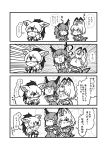 3girls :3 aardwolf_(kemono_friends) aardwolf_ears animal_ears bare_shoulders blindfold caracal_(kemono_friends) caracal_ears caracal_tail collared_shirt comic eyebrows_visible_through_hair fangs greyscale high-waist_skirt highres kemono_friends kotobuki_(tiny_life) monochrome multiple_girls necktie open_mouth ponytail serval_(kemono_friends) serval_ears serval_print serval_tail shirt short_hair skirt sleeveless sweatdrop tail translation_request