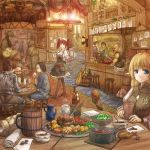 4boys 5girls armor bald black_hair blonde_hair blue_eyes bottle brown_hair cervus coin commentary elf food hair_bun hat highres instrument japanese_clothes multiple_boys multiple_girls music original playing_instrument pointy_ears pot redhead scenery sitting stool table twintails waitress