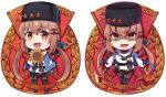 1girl anchor_necklace badge belt black_belt black_bow black_footwear black_gloves black_hat black_skirt blue_shawl boots bow brown_eyes brown_hair brown_legwear chibi commentary_request cyrillic fingerless_gloves flower gloves hair_bow hammer hammer_and_sickle hat ido_(teketeke) jacket kantai_collection long_hair looking_at_viewer low_twintails multiple_views pantyhose papakha ribbon_trim russian scarf shaded_face sickle simple_background skirt standing star sunflower tashkent_(kantai_collection) thigh-highs thigh_boots torn_scarf twintails white_background white_jacket white_scarf