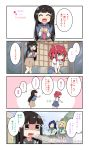 0_0 4girls 4koma :3 :d ^_^ aqua_neckwear arm_up bangs belt black_hair blonde_hair blue_hair blue_shirt blue_skirt blush brown_skirt closed_eyes closed_eyes collared_shirt comic double-breasted flying_sweatdrops food grey_skirt hair_ornament hair_ribbon hairclip hand_on_hip highres holding holding_food kurosawa_dia kurosawa_ruby long_hair love_live! love_live!_sunshine!! matsuura_kanan miyako_hito mole mole_under_mouth multiple_girls neckerchief no_eyes ohara_mari open_mouth ponytail pudding red_neckwear redhead ribbon school_uniform serafuku shaded_face shirt sitting skirt smile suspender_skirt suspenders translation_request two_side_up uranohoshi_school_uniform white_ribbon white_shirt