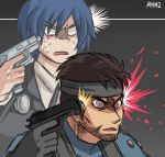 2boys ayyk92 blue_hair brown_hair crossover gun handgun headband metal_gear_(series) metal_gear_solid multiple_boys nintendo persona persona_3 short_hair solid_snake super_smash_bros. super_smash_bros._ultimate weapon yuuki_makoto