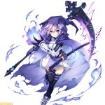 1girl blue_fire chains cloak compile_heart d-pad d-pad_hair_ornament electricity fire flame fusion gauntlets gloves hair_ornament hiro_(spectral_force) hirotune hood idea_factory katana mega_miracle_force neptune_(choujigen_game_neptune) neptune_(series) official_art purple_hair red_eyes shoes skirt skull smile sneakers spectral_(series) spectral_force sword thigh-highs weapon zettai_ryouiki