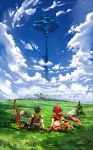1boy 1girl absurdres arm_at_side arm_support armlet ass blue_sky brown_gloves brown_hair bush clouds commentary_request field from_behind gloves grass highres homura_(xenoblade_2) nintendo planted_sword planted_weapon poteto_(potetosarada123) redhead rex_(xenoblade_2) rock scenery short_hair sitting sky sword touching tree weapon xenoblade_(series) xenoblade_2