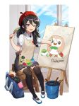 1girl ;d artist_name badge beret black_legwear black_skirt blue_sky bucket button_badge copyright_name creatures_(company) day easel game_boy game_console game_freak gen_7_pokemon hair_between_eyes handheld_game_console hat looking_at_viewer nintendo nintendo_3ds nintendo_switch one_eye_closed open_mouth original paintbrush painting poke_ball pokemon red_hat risem rowlet shoes short_sleeves sitting skirt sky smile smock thigh-highs white_footwear wii_u window